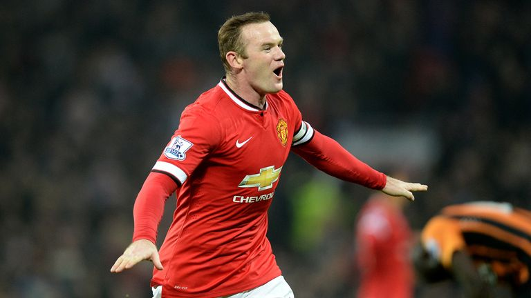 Manchester United's Wayne Rooney celebrates scoring his sides second goal of the game during the Barclays Premier League match at Old Trafford, Manchester.