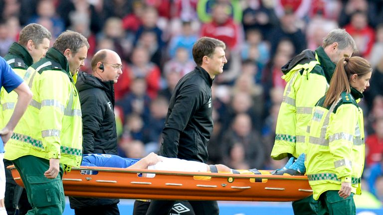 Everton's Gareth Barry is stretchered off after just 12 minutes at Sunderland.