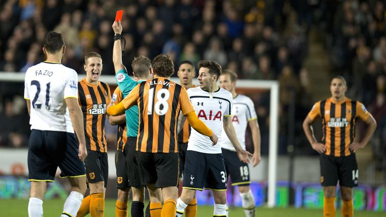 Referee Craig Pawson shows Hull City's Uruguayan midfielder Gaston Ramirez a red card, Hull v Tottenham