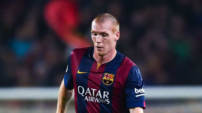 Jeremy Mathieu of FC Barcelona runs with the ball during the La Liga mach between FC Barcelona and Sevilla FC at Camp Nou