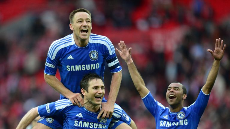 John Terry, Frank Lampard and Ashley Cole of Chelsea celebrate victory after the FA Cup Final 2012