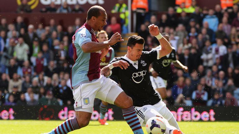 BIRMINGHAM, ENGLAND - APRIL 19:  Jose Fonte (R) of Southampton tackles Gabriel Agbonlahor (L) of Aston Villa during the Barclays Premier League match betwe