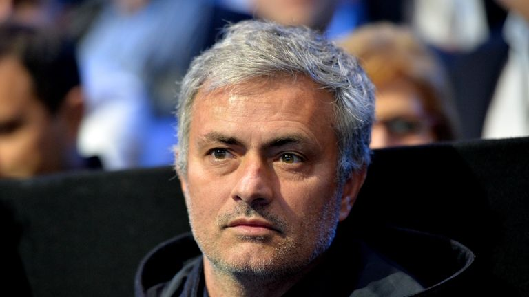 Chelsea manager Jose Mourinho attends the exhibition match between Serbia's Novak Djokovic and Britain's Andy Murray