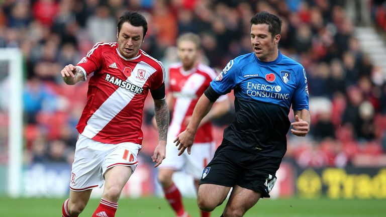 Lee Tomlin (L) of Middlesbrough battles with Yann Kermorgant of Bournemouth at the Riverside