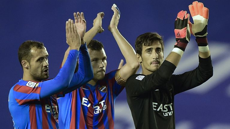 Levante players celebrate victory against Valencia