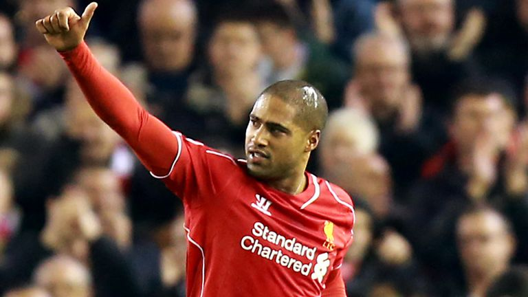 Liverpool's Glen Johnson celebrates scoring his side's first goal of the game during the Barclays Premier League match at Anfield, Liverpool.
