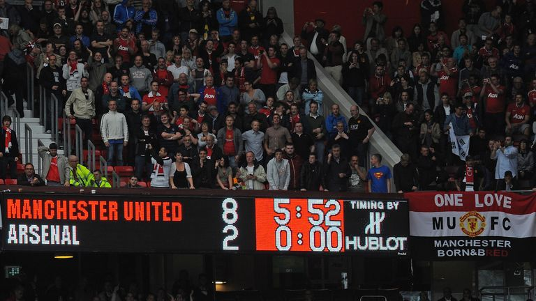 Arsenal suffered a famous 8-2 defeat at Old Trafford in August 2011