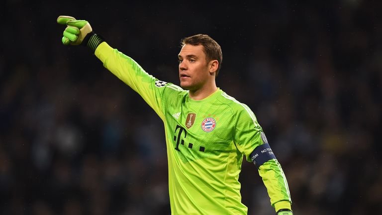 Manuel Neuer of Bayern Munchen in action during the Champions League Group E match between Manchester City and Bayern Munchen