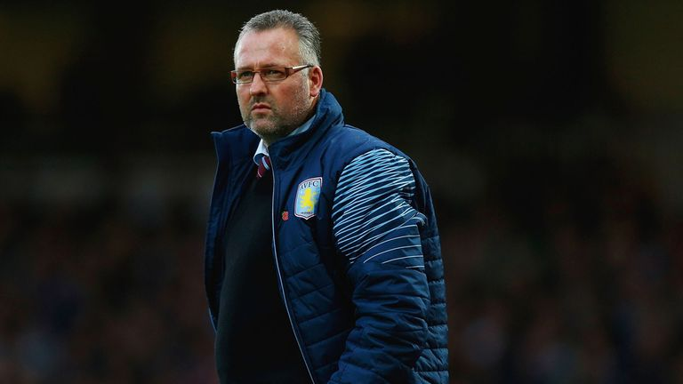 Aston Villa manager looks on during the game against West Ham