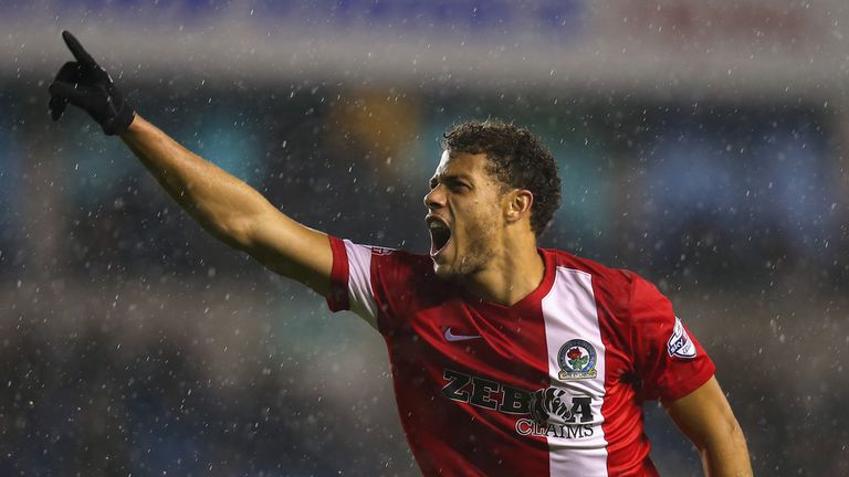 Rudy Gestede of Blackburn Rovers celebrates