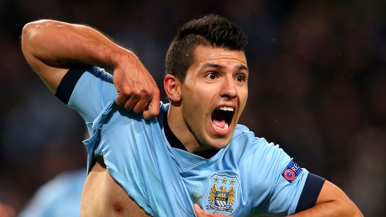 MANCHESTER, ENGLAND - NOVEMBER 25:  Sergio Aguero of Manchester City celebrates after scoring his team's third and matchwinning goal during the UEFA Champi