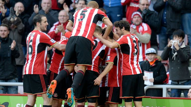Sunderland players celebrate after Sebastian Larsson's goal against Everton