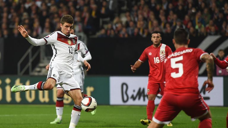 Thomas Muller opens the scoring for Germany