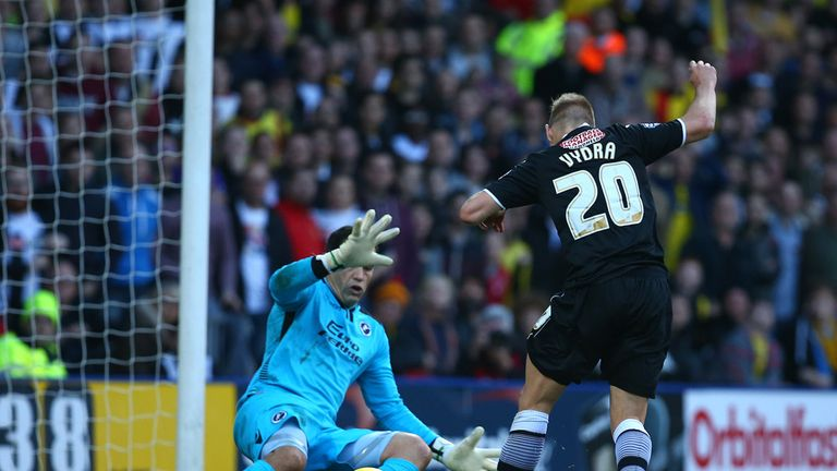 Matej Vydra scores Watford's first goal