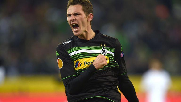 Moenchengladbach forward Branimir Hrgota celebrates