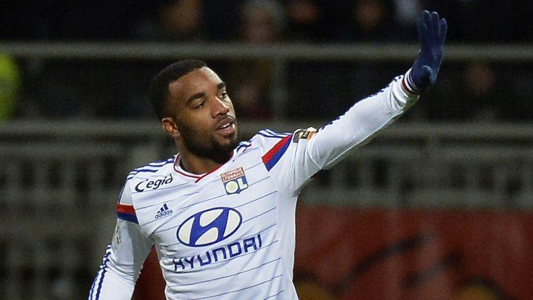 Lyon forward Alexandre Lacazette celebrates