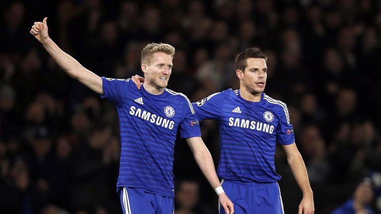 Chelsea's Andre Schurrle (L) celebrates with Cesar Azpilicueta