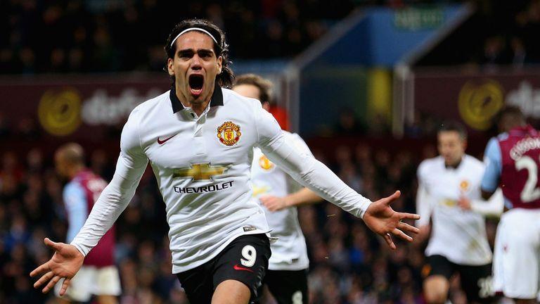 Radamel Falcao celebrates his equalising goal for Manchester United