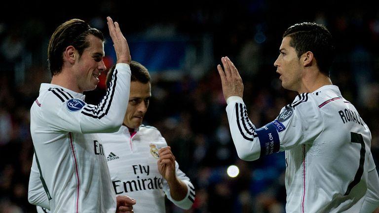 Cristiano Ronaldo (R) of Real Madrid CF celebrates scoring their opening goal with teammate Gareth Bale