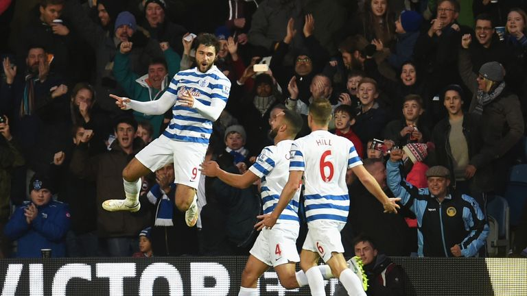 Charlie Austin celebrates his hat-trick goal in the 3-2 win over West Brom on Saturday