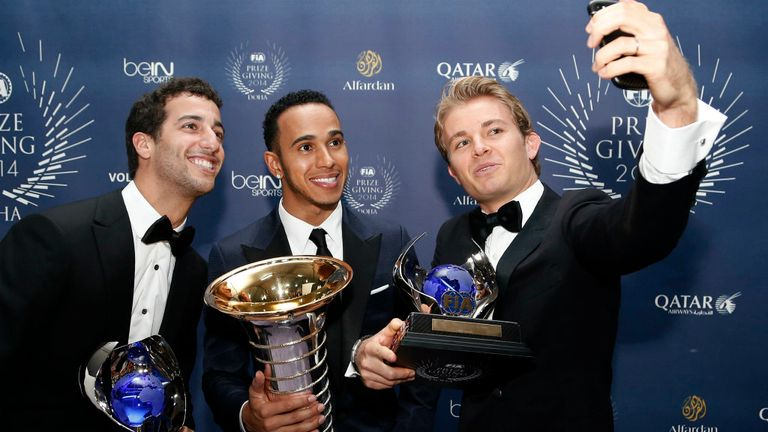 The top three in the 2014 championship pose for a post-awards selfie (FIA image)