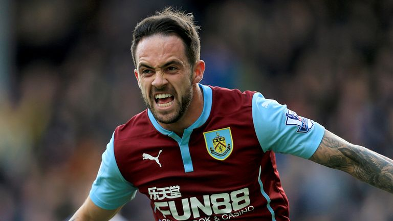 Burnley's Danny Ings celebrates after scoring his side's first goal during the Barclays Premier League match at Turf Moor, Burnley.
