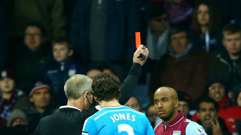 Fabian Delph: Receives a red card from referee Martin Atkinson