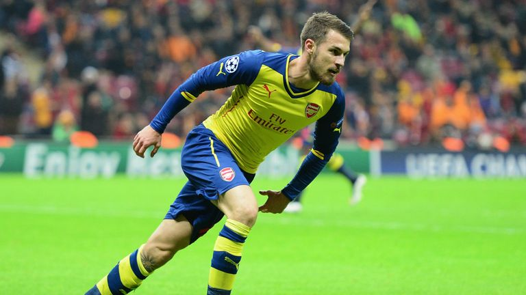 Aaron Ramsey of Arsenal celebrates as he scores their second goal against Galatasaray