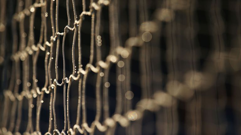 Water droplets are seen on the goal net prior to the Barclays Premier League match between Crystal Palace and Stoke City