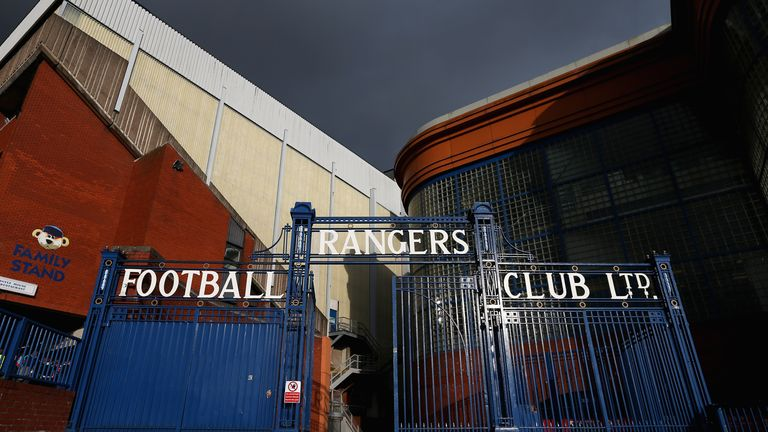 GLASGOW, SCOTLAND - OCTOBER 11:  A general view of Ibrox Stadium is seen ahead of the EURO 2016 Qualifier match between Scotland and Georgia at Ibrox Stadi