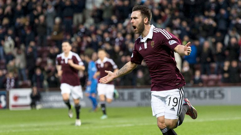 James Keatings celebrates scoring a stunning opening goal against Queen of the South