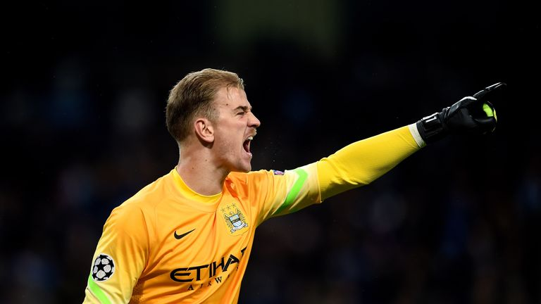 Goalkeeper Joe Hart of Manchester City directs his defence during the UEFA Champions League