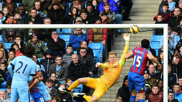 Joe Hart makes a save from Crystal Palace's Mile Jedinak