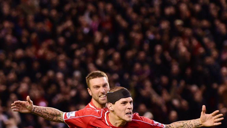 Liverpool's Slovakian defender Skrtel celebrates scoring his team's second equalising goal