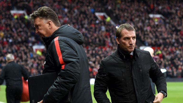 Liverpool manager Brendan Rodgers and Manchester United manager Louis van Gaal