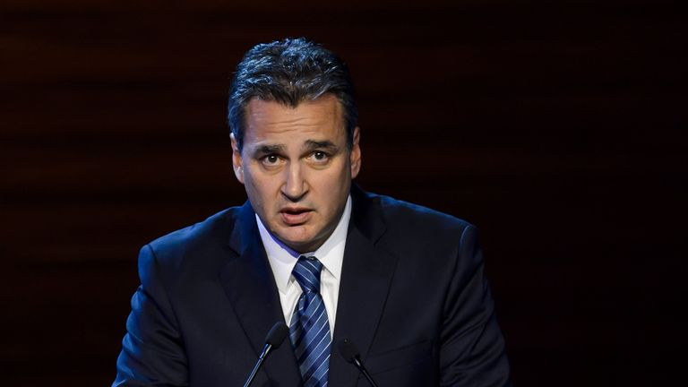 FIFA ethics prosecutor Michael Garcia delivers a speech during the 64th FIFA congress on June 11, 2014 in Sao Paulo, on the eve of the opening match of the