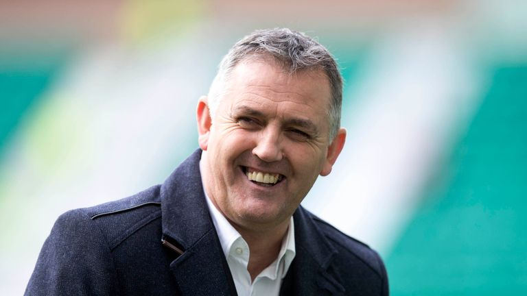 Owen Coyle at on the pitch before the Scottish Premiership Play Off final at Easter Road,Edinburghn.
