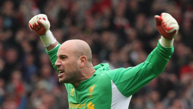 Pepe Reina of Liverpool celebrates Steven Gerrard scoring their first goal