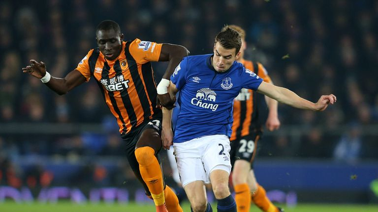 Seamus Coleman is challenged by Mohamed Diame