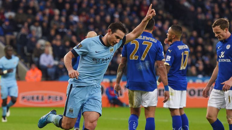 Frank Lampard celebrates after scoring the only goal of the game at Leicester