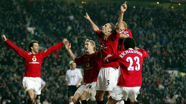 Manchester United's Rio Ferdinand celebrates scoring in injury time against Liverpool during their English Premiership soccer match in January 2006