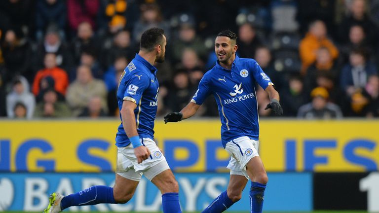 Riyad Mahrez and Marcin Wasilewski: Celebrate opening the scoring