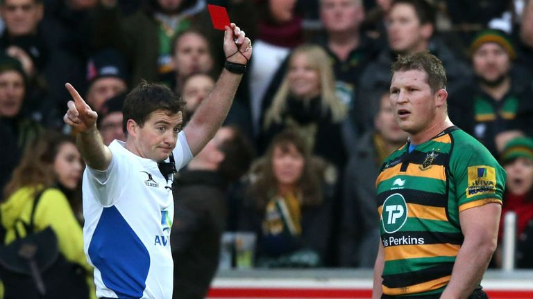 Dylan Hartley is sent off by referee JP Doyle