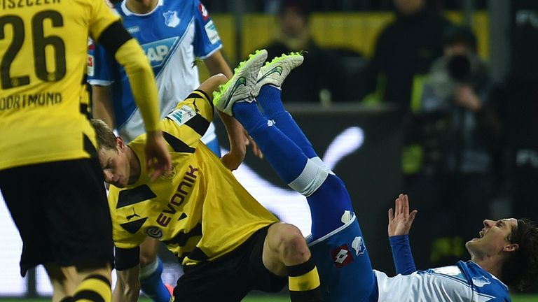 Tussle: Sven Bender (l) and  Sebastian Rudy vie for the ball