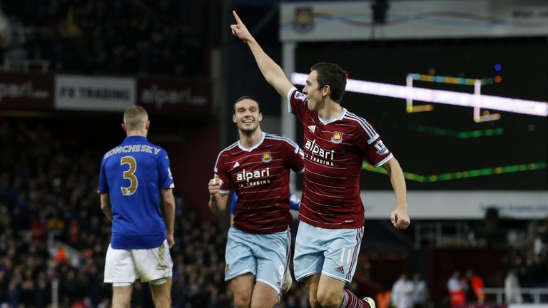 Stewart Downing celebrates scoring West Ham's second