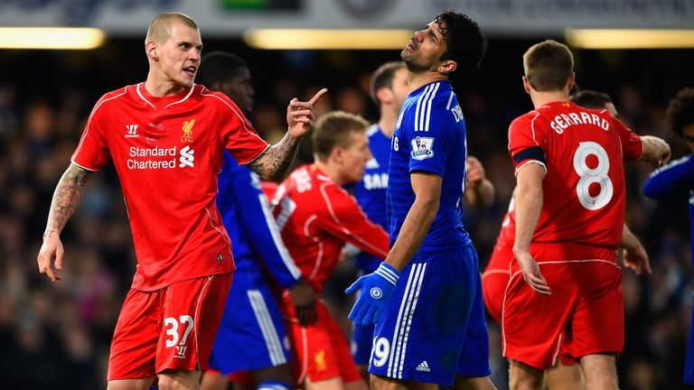 Martin Skrtel and Diego Costa were involved in a running battle for much of Tuesday's semi-final