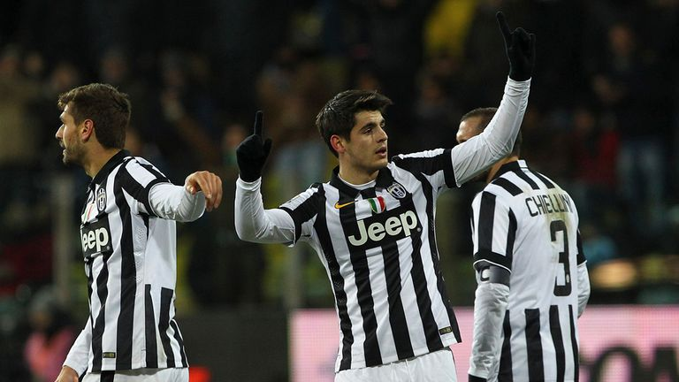 Alvaro Morata celebrates his quarter-final winner for Juventus against Parma