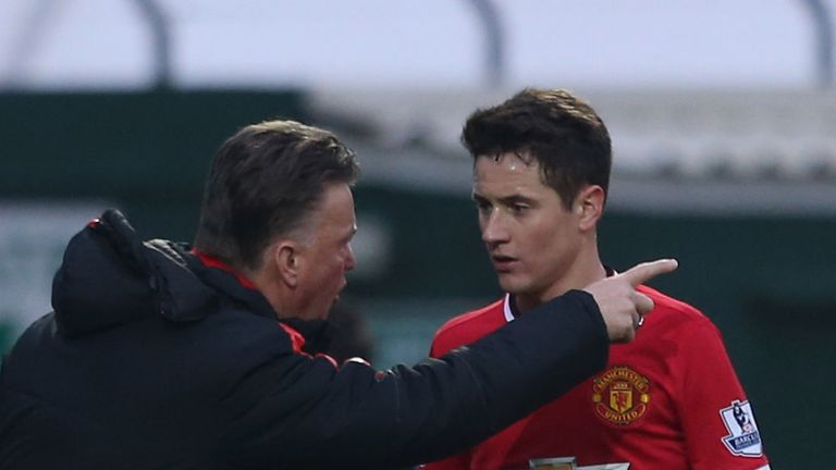 Manager Louis van Gaal of Manchester United speaks to Ander Herrera during the FA Cup Third Round match against Yeovil Town at Huish Park