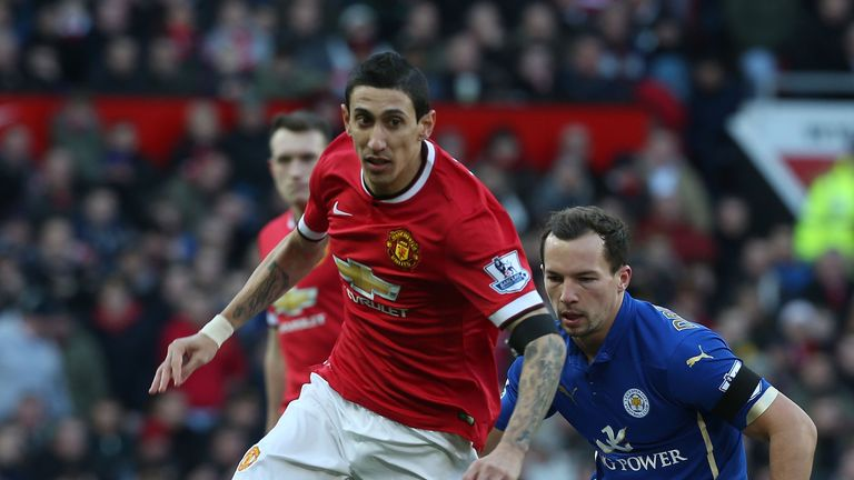 Angel di Maria of Manchester United in action with Danny Drinkwater of Leicester City