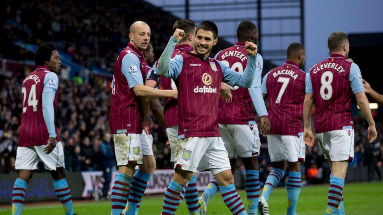 Carles Gil: Celebrates first strike in Villa colours.